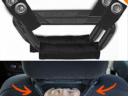 GPCA Jeep Wrangler Universal fit Headrest Grab Handles Including car/Jeep JK JL More – GP-Back-Grip for Off Road Backseat Passengers Jet Black