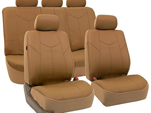 FH Group FH-PU009115 Rome PU Leather Full Set Car Seat Covers, Airbag Compatible and Split Bench, Solid Tan – Fit Most Car, Truck, SUV, or Van