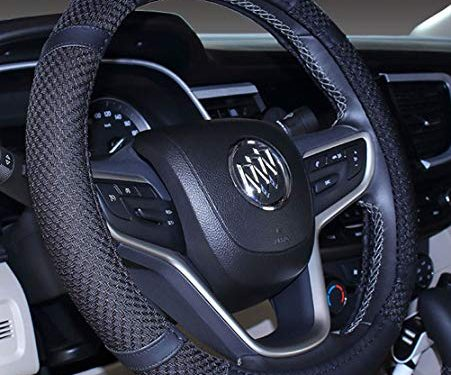 Steering Wheel Cover Microfiber Leather and Viscose, Breathable, Anti-Slip, Odorless, Warm in Winter and Cool in Summer, Universal 15 Inches Black