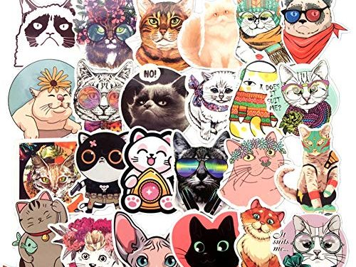Homyu Stickers Pack 50-Pcs Decals of Cute Cat Animal Stickers Decals for Cars Motorcycle Portable Luggages Ipad Laptops Waterproof Sunlight-Proof