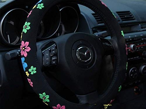 Mayco Bell 2016 Automotive Women Embroidery Cute Car Steering Wheel Cover Flower