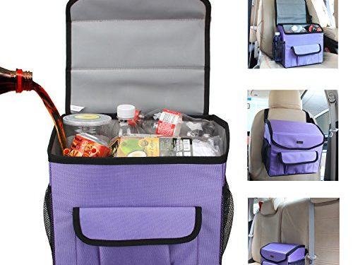 LUXJA Car Trash Can, Waterproof Car Garbage Can with Lid and Storage Pockets, Purple