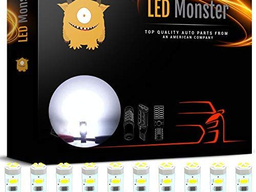 LED Monster 10 Pack White Twist Socket T5 5-SMD LED Gauge Cluster Bulbs Dashboard Light Lamp Instrument Panel Indicators