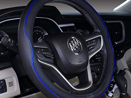 2019 New Micro Fiber Leather Car Steering wheel Cover 15 inches Black Dark Blue