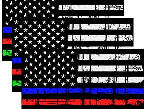 CREATRILL Reflective Tattered Thin Blue Red Green Line Decal Matte Black – 3 Packs 3×5 in. American USA Flag Decal Stickers for Cars, Trucks, Hard Hat, Support Police Fire Officers Military Troops
