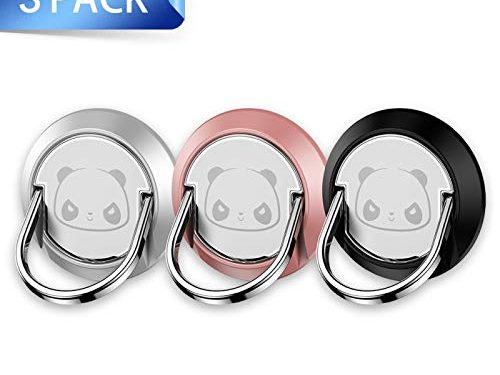 Cell Phone Ring Holder, 3Pack Panda Phone Stand Smartphone Finger Grip Metal Loop Adjustable Mobile Kickstand for Magnetic Car Mount iPhone Samsung Galaxy Pop Hand Desk Iring Black Rose Gold Silver