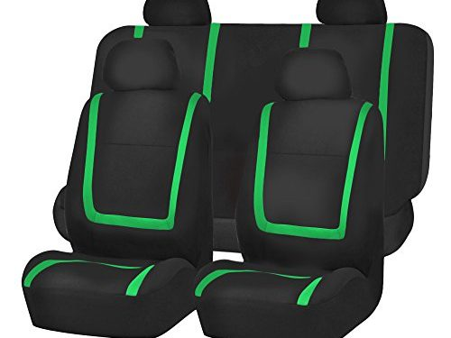 FH Group FB032GREEN114 Green Unique Flat Cloth Car Seat Cover w. 4 Detachable Headrests and Solid Bench