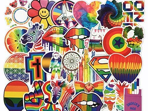 Homyu Stickers Pack 60-Pcs Decals of Colorful Rainbow for Laptops Cars Motorcycle Portable Luggages Ipad Waterproof Sunlight-Proof