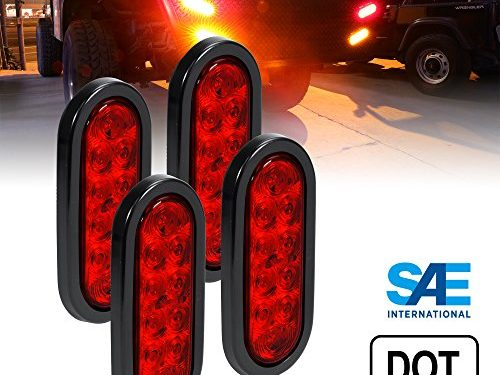 4pc 6″ Oval Red LED Trailer Tail Lights DOT Certified Grommet & Plug Included IP67 Waterproof Turn Stop Brake Trailer Lights for RV Jeep Trucks