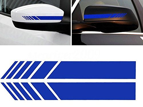 YOUNGFLY 2pcs Car Rear View Mirror Stickers Decor DIY Car Body Sticker Side Decal Stripe Decals SUV Vinyl Graphic Dark blue