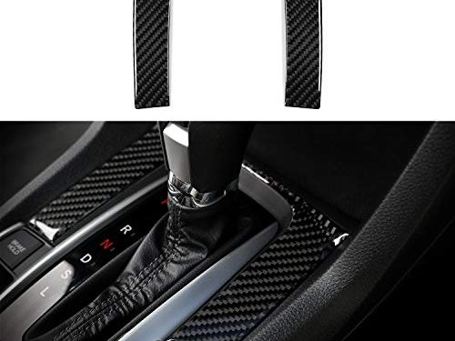 Thenice for 10th Gen Civic Real Carbon Fiber Gear Panel Trims Center Consoles Decoration Cover for 2016 2017 2018 2019 Honda Civic