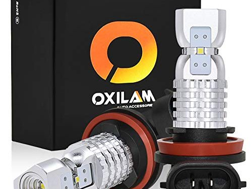 OXILAM H8-H11-LED-Fog-Light Bulbs Extremely Bright 2600 Lumens 6000K Xenon White Non-Polarity Sensitive for Fog-Lights or DRL, Pack of 2