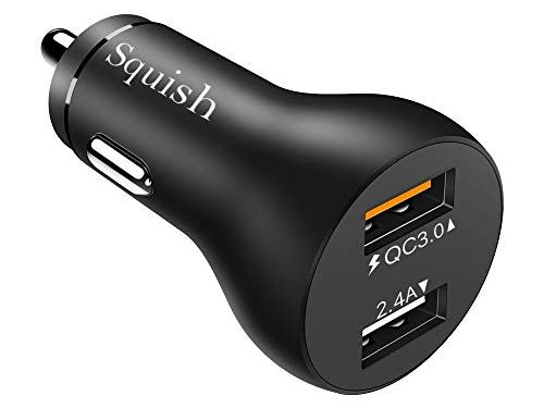 Squish Quick Charge 3.0 Car Charger Adapter Dual USB Port Aluminum Alloy Fast Charger for iPhone XR/XS/X, Samsung Galaxy S10/S10+ S9/S9+,LG G6 / V30, HTC 10 and More | UL Listed