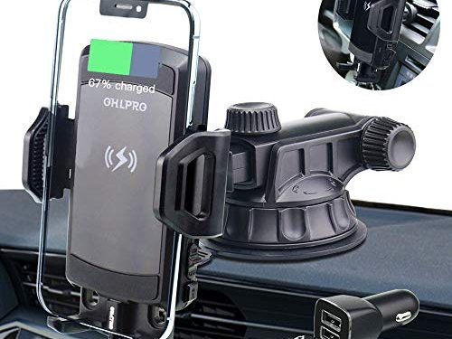 Wireless Car Charger Mount,OHLPRO 10W 7.5W Power Fast Charging & 5W Charger Qi Car Phone Holder Air Vent Dashboard & Windshield Compatible with iPhone Xs/Xs Max/XR/X/ 8/8 Plus, Samsung S10 S9 Note 9