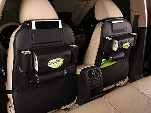 JAuto Pu Leather Car Seat Back Organizer Seat Back Kick Protectors for Kids, Storage Bottles, Tissue Box, Toys1 Pack Black