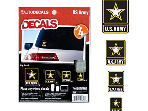 Officially Licensed U.S. Army Decals – 4 Piece US Military Stickers for Truck or Car Windows, Phones, Tablets & Laptops – Large Military Decals 1.75 to 4 Inches – Car Decals Military Collection