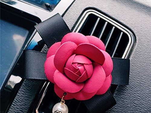 Follicomfy Car Air Conditioner Vent Freshener Clip Auto Camellia Essential Oil Gift Decor Accessory,Rose Red Flower