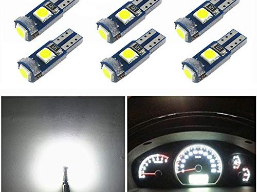 WLJH 6X T5 LED Wedge Bulbs Canbus Error Free 74 73 17 Extremely Bright White 3030 Chipsets for Auto Car LED Gauge Cluster Dashboard Light Lamp Instrument Panel Indicators