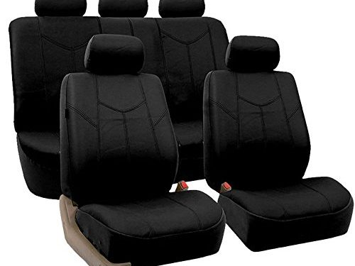 Fit Most Car, Truck, Suv, or Van – FH Group FPU009115 Rome PU Leather Full Set Car Seat Covers, Airbag compatible and Split Bench, Solid Black