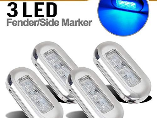 4pcs 3″ Blue LED Oblong Courtesy Light Yacht Marine Boat Stair Deck Garden Usage Clear Lens, Surface Mount Marine Led Interior lights for 12V Boats RV Campers, Sealed boat led cabin lights