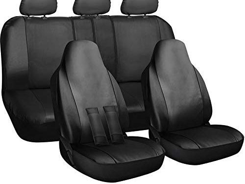 Newly Designed PU Leather – Motorup America Auto Seat Cover Full Set – Fits Select Vehicles Car Truck Van SUV – Gray & Black