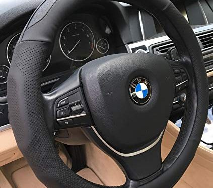 ANDALUS Microfiber Leather Steering Wheel Cover, Universal 15 inch Black