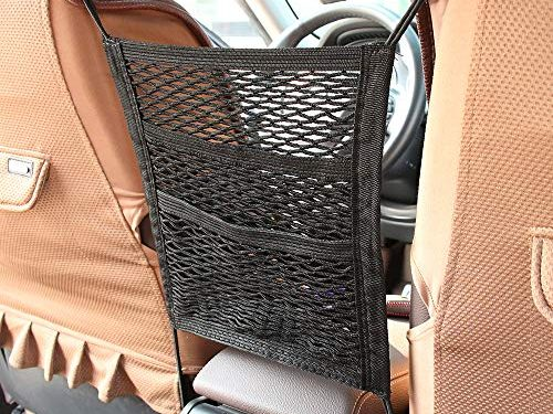 MagiqueW Car Seat Storage Mesh/Organizer – 3 Lays Back Seat Elastic Cargo String Net Pouch Holder for Bag Luggage Pets Kids Barrier Disturb Stopper