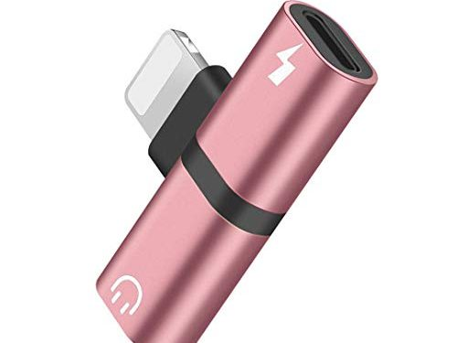 Hamdol Headphone Adapter for iPhone X/XS/XS MAX/XR/8/ 8Plus/ 7/7 Plus Headset Adaptor Splitter Earphone Connector Convertor 2 in 1 Accessories Car Charger, Quick Charge Fast Car Adapter,Rose-Gold