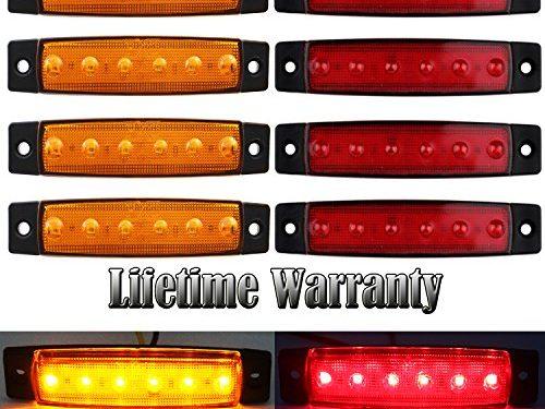 FXC 6 LED Clearence Light Front Rear Side Marker Indicators Light for Truck Car Bus Trailer Van Caravan Boat, Taillight Brake Stop Lamp 12V 4 Amber+4 Red