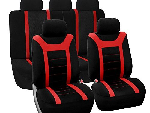 FH Group FB072RED115 Full Set Seat Cover Road Master Airbag and Split Bench Compatible Red