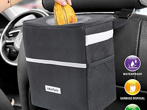 Leakproof and Water Resistant Inside Lining – Idefair Car Trash Can with Lid, Car Garbage Bag Can Hanging 3 Pockets Organizer for Car