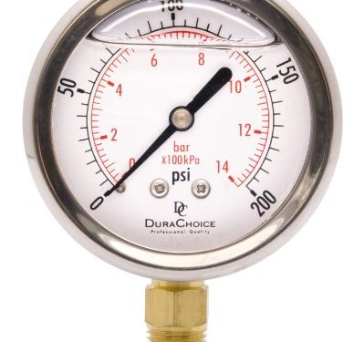 2-1/2″ Oil Filled Pressure Gauge – Stainless Steel Case, Brass, 1/4″ NPT, Lower Mount Connection 0-200PSI
