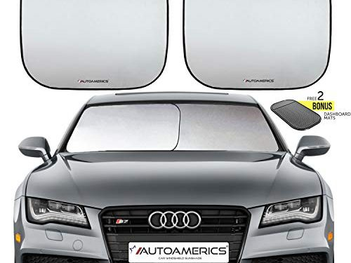 Autoamerics Windshield Sun Shade 2-Piece Foldable Car Front Window Sunshade for Most Sedans SUV Truck – Auto Sun Blocker Visor Protector Blocks Max UV Rays and Keeps Your Vehicle Cool Universal Fit