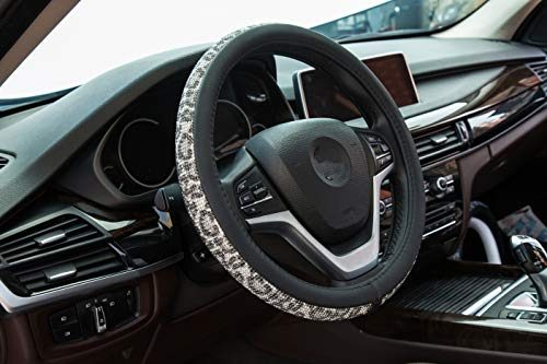 Cystal Steering Wheel Cover,with PU Leather Bling Bling Rhinestones,Black & Silver Bing Black White