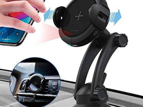 KOAKUMA Wireless Car Charger Mount, Automatic Clamping Car Mount Air Vent Phone Holder with 15W QI Fast Charging Compatible with iPhone X/XS Max/XS/XR/8/8 Plus, Samsung Galaxy S10/S10+/S9/S9+/Note 9/8