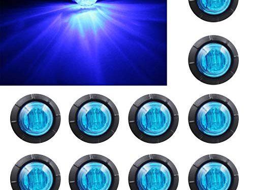 "Purishion 10x 3/4″"" Round LED Clearence Light Front Rear Side Marker Indicators Light for Truck Car Bus Trailer Van Caravan Boat, Taillight Brake Stop Lamp 12V, Blue"