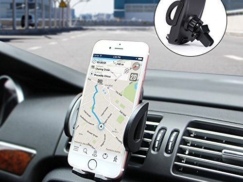 Amoner Car Phone Mount, Horizontal Air Vent Phone Holder for Car with Quick Release Button for iPhone X 8 7 6 6S Se 5S Samsung Galaxy S9 S8 S7 S6 S5 HTC LG Sony Nexus Motorola More