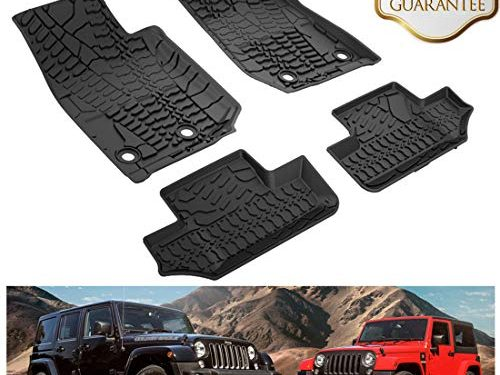KIWI MASTER Floor Mats Compatible for 2014-2017 Jeep Wrangler JK 2-Door Front & Rear Row TPE Floor Liners All Weather Protection Slush Mat Black