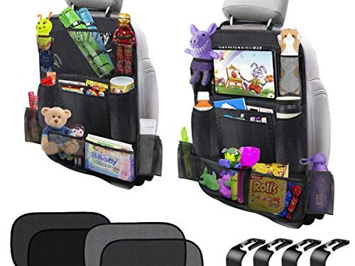 Car Backseat Organizer with 10'' Touch Screen Tablet Holder Car Seat Back Protector 11 Storage Pockets Kick Mats Travel Accessories for Kids Toy Thermal Insulated Pockets Strong Buckle 2 Pack
