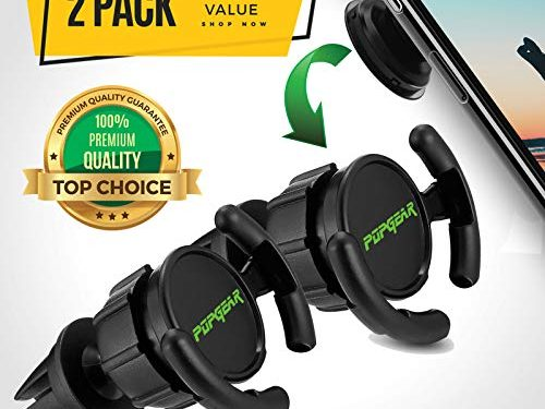 PopGear Pop Clip Car Mount & Holder for Cell Phone 2 Pack – Air Vent Clip Designed for Android or iPhone with Pop Out Clip || Sturdy Mount with 360 Degrees Grip & Lock for GPS Navigation