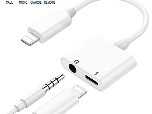 Headphone Adapter for iPhone 8/8 Plus 3.5mm Adapter Splitter Jack Aux Audio Charger for iPhone/Xs/Xs Max/XR / 7/7 Plus Earphone Adaptor Charger Cables & Audio Connector Dongle Support All iOS Systems