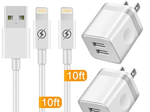 Phone Charger 10ft Cable with Wall Plug 4 in 1, YANME 2 Port USB Wall Charger Adapter Block with 10 Feet Long Charging Cord Compatible with Phone Xs/Xs Max/XR/X 8/7/6/6S Plus SE/5S/5C, Pad, Pod