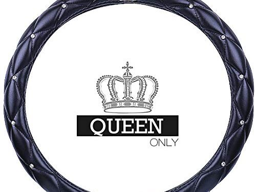 Queen's Auto Steering Wheel Cover with Noble Crown + Bling Diamond + Exquisite Lattice Design + Soft Leather Stylish + Elegant Car Series Universal 15″/38cm QUEEN ONLY Black