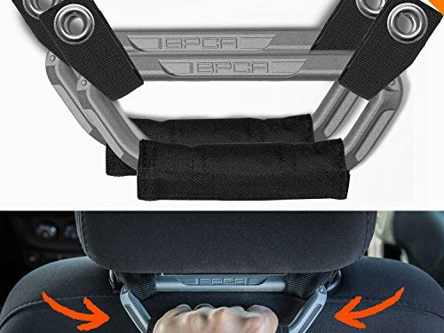 GPCA Headrest Grab Handles PRO Universal for Jeep, Truck,Sports Car,Easy headrest Pole Mount for 4X4 Off-Road Backseat Passengers. GP Back Grip Patent Pending. Metallic Aluminum