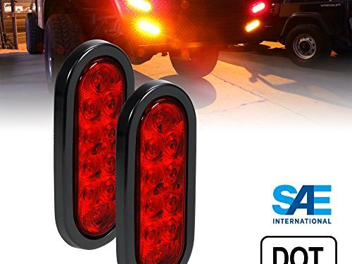 2pc 6″ Oval Red LED Trailer Tail Lights DOT Certified Grommet & Plug Included IP67 Waterproof Turn Stop Brake Trailer Lights for RV Jeep Trucks