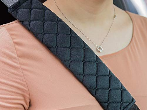 ROYAGO Universal Car Seat Belt Pad Cover kit, 2-Pack Black Soft Car Safety Seat Belt Strap Shoulder Pad for Adults and Children,Helps Protect Your Neck and Shoulder Black