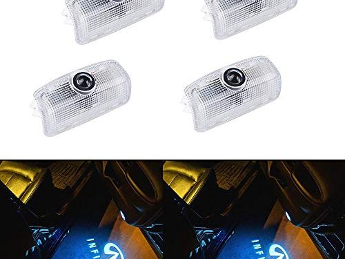 Car Door LED Logo Projector Lighting Shadow Light Ghost lamp for Infiniti Accessory Wireless Welcome Emblem Lamp Infiniti FX G M EX Q50 Q70 Q60 QX50 QX70 QX80pack of 4