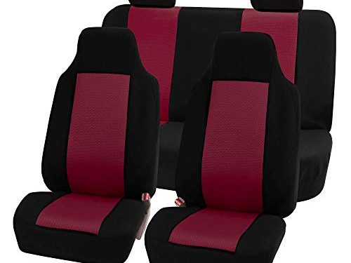 FH Group FB102114 Classic Full Set High Back Flat Cloth Car Seat Covers, Burgundy/Black- Fit Most Car, Truck, SUV, or Van