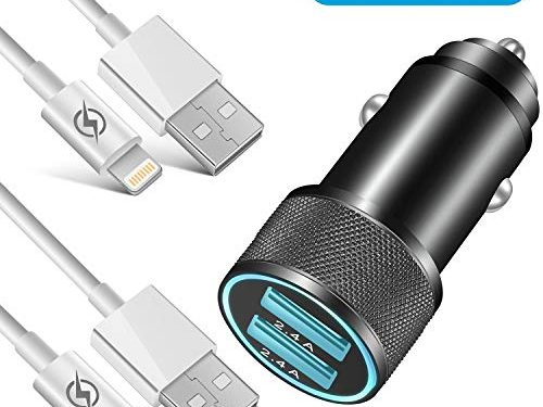 Car Charger, NNICE 2.4A Dual Port Fast USB Car Charger with 2 Pack 3 FT Charging Cable Compatible iPhone Xs/XS MAX/XR/X / 8/8 Plus / 7 / 6S/ 6S Plus 5S 5 5C SE,Pad and More3 in 1