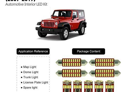 DODOFUN Deluxe Interior LED Lighting Kit for 2007-2017 Jeep Wrangler 9-pc Bulb 6000k